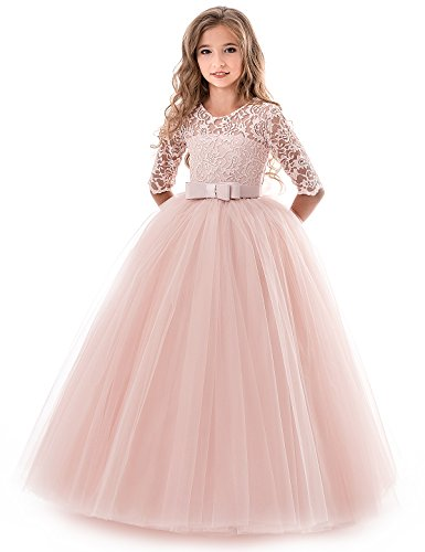 NNJXD Girls Pageant Embroidery Ball Gown Princess Wedding Dress